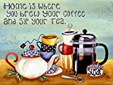 Retro Vintage Home is Where You Brew Your Coffee and Tea Metal Tin Sign Home Bar Cafe Retaurant Wall Decor Signs 12x8inch