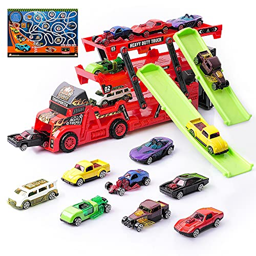 MIHUI Toddler Boy Toys Small Cars Carrier Semi Truck Toy for Age 1-7 Years Old Boys Birthday Gift.