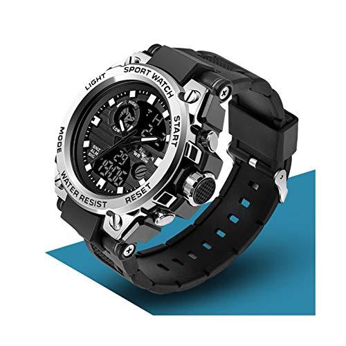 JINSUO Xiaobingjiaju Relojes for Hombre Deportes Top Marca Militar de Lujo Reloj de Cuarzo Menores Hombres Impermeable S Shock Mascule Reloj Relogio Masculino (Color : Silver)