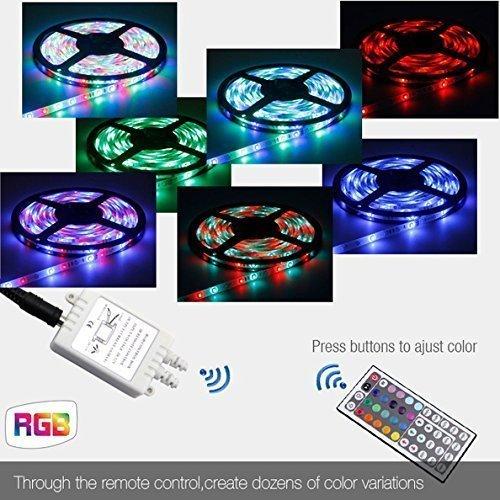 Besmall Eclairage Ruban à LED 5 Mètres,Chip SMD5050 Avec 300 Ampoules,Lumière Multicolore Mode RGB,Matériel Etanche,Flexible,Télécommande 44 Touches,IR Récepteur,Alimentation Inclus - XRDT11S-OZ