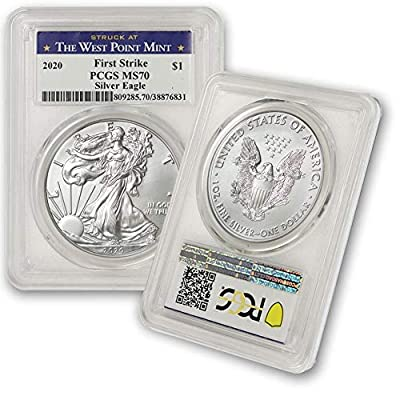 2020 Silver American Eagle MS-70 PCGS (First Strike, Struck at West Point) by CoinFolio $1 MS70 PCGS