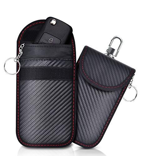 Lanpard 2PCS Antirrobo Coche Funda de Seguridad para Llave Coche Keyless Go, Protección Anti RFID Bolsa de Faraday Bloqueo Señal, Fibra de Carbono (Mini Negro)