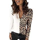 ZFQQ Camiseta Multicolor de Manga Larga con Estampado de Leopardo y Estampado de Leopardo para Mujer de Primavera y Verano