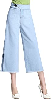 JeansForest Women's High Waisted Wide Leg Capri Jean Cropped Flare Jeans