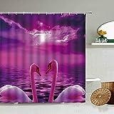 AIDEMEI Herzförmiger Weißer Schwan Duschvorhang Tierpaar Badezimmerdekoration Geschenk Blackout Wasserdichter Sichtschutz Mit Hakenset 180 * 180CM