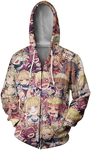 Men's Ahegao Cosplay Hoodie Unisex 3D Ahego Printed Anime Cartoon Pullover Sweatshirt Zip Blond 3XL