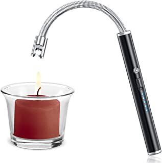 Candle Lighter, Upgraded USB Charging Arc Lighter with 360° Flexible Neck, Suitable Ignite Light Candles Gas Stoves Camping Cooking Barbecue Fireworks Flame, Elegant Black