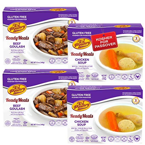 Kosher For Passover Food Matzo Ball Chicken Soup + Beef Goulash - MRE Meat Meals Ready to Eat - Gluten Free (4 Pack - Variety) - Prepared Entree Fully Cooked, Shelf Stable Microwave Dinner