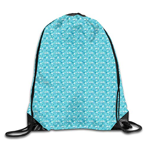 Drawstring Gym Bag Backpack,Underwater Sea Elements Turtles Sea Horses Shells And Floating Boat,Rucksack for School Sports Travel Women Children Birthday Present