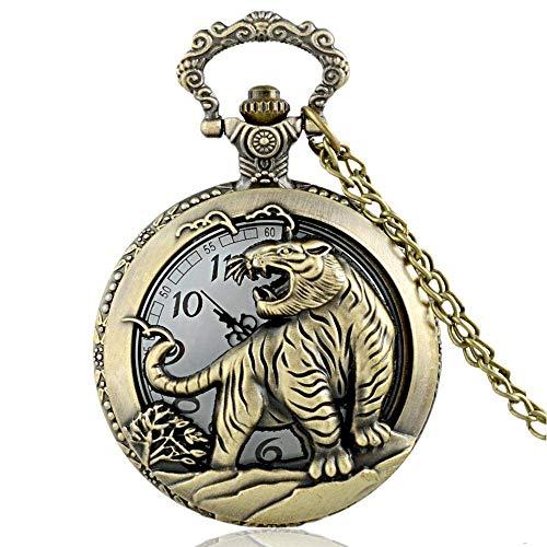 GJJSZ Taschenuhr Vintage Bronze Tiger Graphic Quarz Taschenuhr mit Kette Retro Männer Frauen Classic Anhänger Halskette Uhr Geschenk
