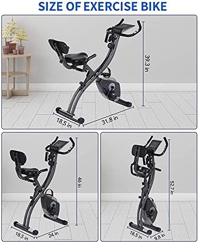 Folding Exercise Bike Stationary Bike Foldable Magnetic Upright Recumbent Bike 3 in 1 Cycling Bike with Arm Resistance Bands Perfect for Men and Women Indoor Outdoor