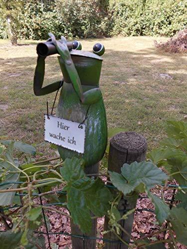 Deko-Impression Zaunfigur Zaunhocker witziger Frosch m. Fernglas Hier wache ich