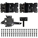 WINSOON Self Closing Gate Hinges 2-Pack Black Finish Vinyl Fence Gate Hinges, with Heavy Duty Gate Latch for Vinyl and Wood Fence, Made of Stainless Steel