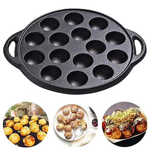 Cast Iron Takoyaki Pan, Nonstick TAKOYAKI Pan Grill Pan/Cooking Plate, 1.5' DIAMETER Half Sphere Takoyaki Maker with 15 Compartment Holes for Baking Cooking 1 Pack