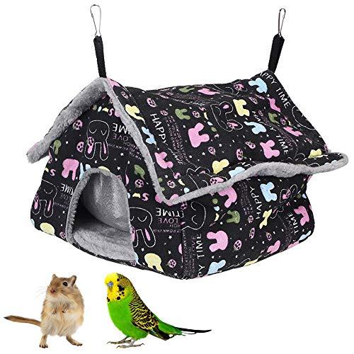 Hamsterhangmat, kleine huisdierentoren Hangmat Hangend huis Warm slaapnest voor kleine huisdieren Vogels Papegaaien Chinchilla Eekhoorn Cavia Rat Muizen(Zwart konijn)