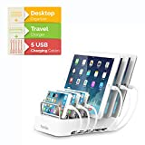 Kavalan 2-in-1 6 Port USB Charging Station for Multiple Devices + Removable 60W USB Type A & Type C Charger Hub, Universal USB Charging Dock Org (6 port/60W/1Type-C/5Free Cable/Support 5iPad/White)