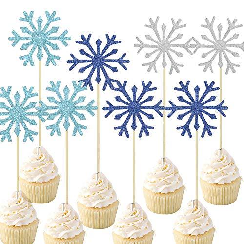 96 piezas de copo de nieve para cupcakes, copos de nieve, palillos...
