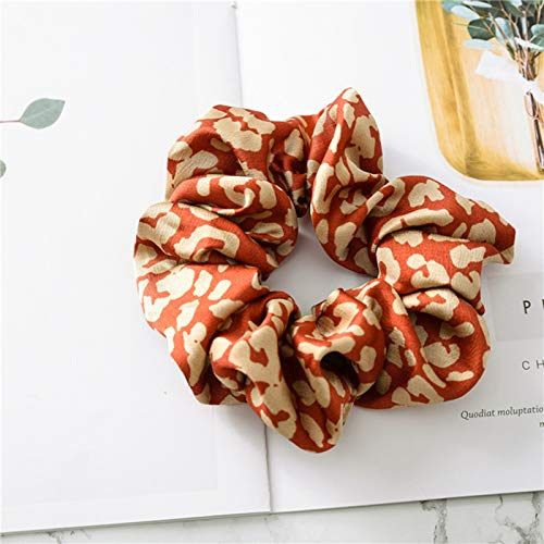 Leopard Scrunchies Elastic Ponytail Holder Hair Bands Leopard Print Hair Ties Chiffon Elastic Bobbles