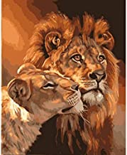 Lion & His Lioness Animals DIY picture by numbers set wall painting art canvas painting for living room decoration