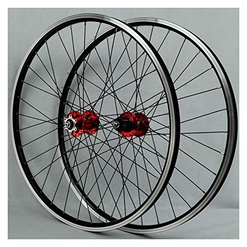 ZFF MTB Wheelset 26 Inch, Double Wall Aluminum Alloy QR Disc/V-Brake Cycling Bicycle Wheels 32 Hole Rim 7/8/9/10/11 Speed Cassette (Color : Red hub)