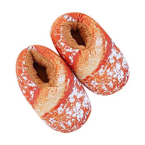 Winkey@ Frauen New 3D Bread Toast Baguette Gefüllte Hausschuhe Weich Warm für Winter Home Indoor Teppichschuhe (C)