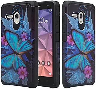 Alcatel OneTouch Fierce XL/Flint/Pixi Glory 4G LTE [Shock Absorption/Impact Resistant] Hybrid Dual Layer Armor Defender Protective Case Cover for Alcatel Pixi Glory, (Blue Butterfly)