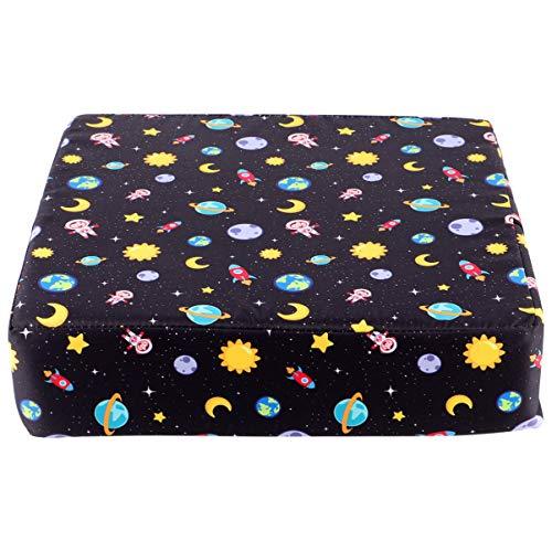 Hakka Cojín de Elevación para Silla de Comedor para Niños con Espacio para Corbata Silla Temática Almohadilla de Asiento Elevador para Bebé Niño Pequeño (Negro)