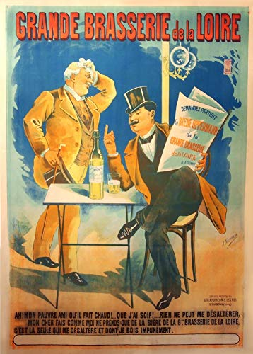 Vintage bieren, wijnen en sterke drank 'Grande Brasserie de la Loire', Frankrijk, 1900, 250gsm Zacht-Satijn Laagglans Reproductie A3 Poster