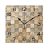 Naanle - Reloj de pared cuadrado, diseño de roca 3D, cuadrado, funciona con pilas, de cuarzo, analógico, silencioso, para el hogar, la oficina, la escuela