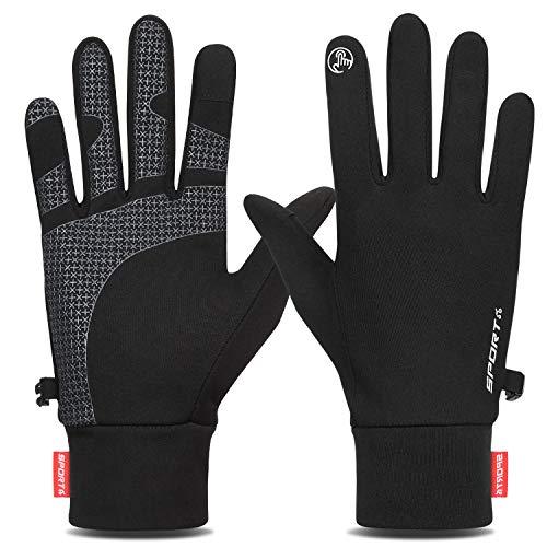 Yobenki Winterhandschuhe, Thermo-Handschuhe, rutschfest, warm, leicht, Touchscreen-Handschuhe für Herren und Damen, Radfahren, Reiten, Klettern, Wandern, Sport (schwarz, M)