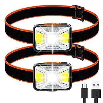 Lampe Frontale Puissante[Lot de 2], LED Torch Frontale USB Rechargeable 200 Lumens 5 Modes D'éclairage Lumière Blanche et Rouge, Etanche IPX5 pour Pêche,Camping,Lecture,Randonnée,Cyclisme,etc.