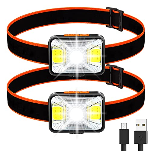 Linterna Frontal LED USB Recargable (2 Piezas), Linterna Cabeza Muy Brillante, 5 Modos de Luz (Blanco y Rojo), IPX5 Impermeable, Mini Frontal LED para Niños, Correr, Acampar, Pescar, Ciclismo