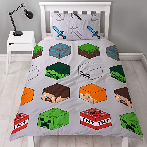 Minecraft Pixel Single Duvet Cover Officially Licensed Reversible Two Sided Creeper & TNT Design with Matching Pillowcase, Polyester, Green