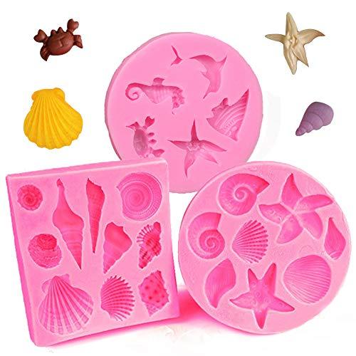 3PCS Seashell y Sea Animal Moldes de Silicona Moldes Herramientas Hechas A...