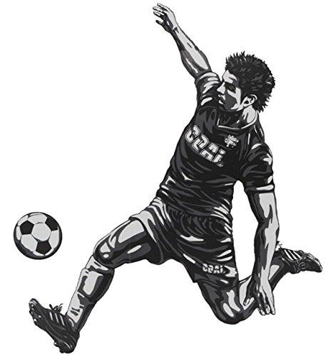 alles-meine.de GmbH 2 TLG. Set XL Wandtattoo / Fensterbild / Sticker -  Fußballer Ball Fußball  - Wandsticker Aufkleber - Verein EM WM - Fußballspieler