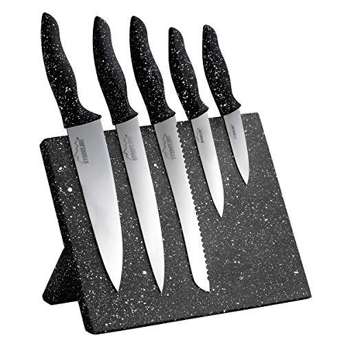 STONELINE® Edelstahl-Messer-Set, 5-teilig, mit Magnet-Messerblock, mit klappbarem Ständer
