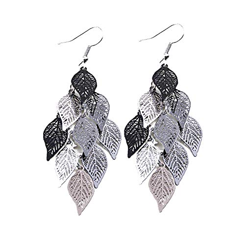 Afco Women Colorful Multi Layers Leaf Hook Earrings Christmas Jewelry Gift 7#