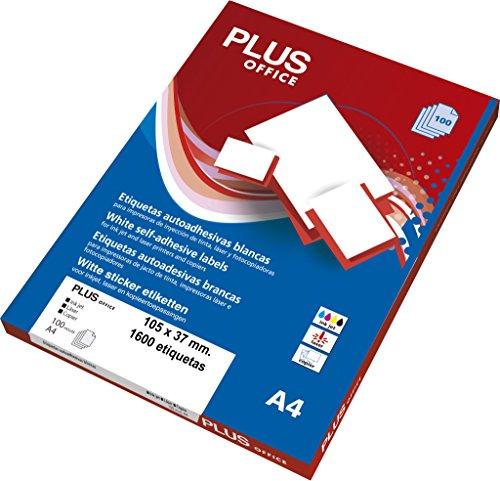 Etiquetas Autoadhesivas Plus Office Blancas 105 x 37 mm 1600 etiquetas
