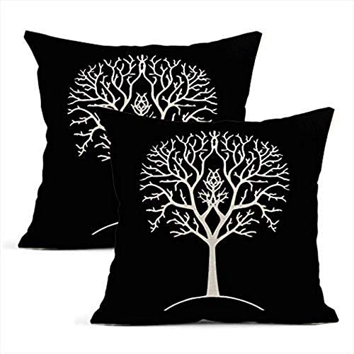 NSYNSY Set of 2 Cushion Covers Linen Autumn Tree Silhouette Black And White Gondor Lord The Ring Pillowcases Square Soft Home Decor Design Throw Pillow Cases Bedroom Sofa 20x20 Inch