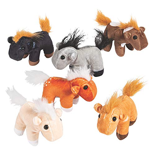 Fun Express Plush Realistic Horses (1 Dozen) Party Favors, Carnival Prizes, Toys, Plush Farm & Woodland, Stuffed Horses