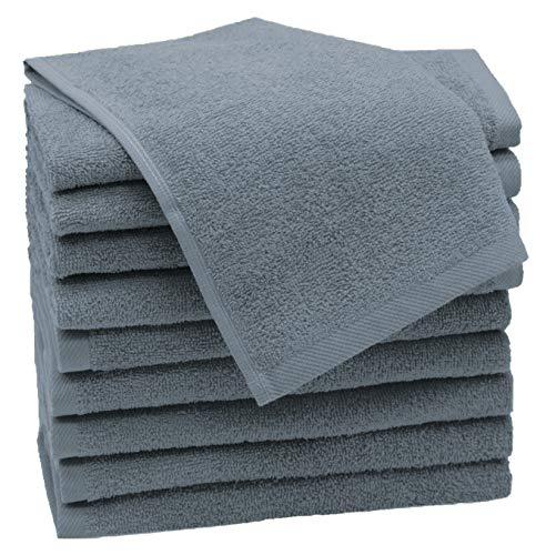ZOLLNER 10er Set Gästehandtücher, 100% Baumwolle, 30x50 cm, grau, 420 g/qm