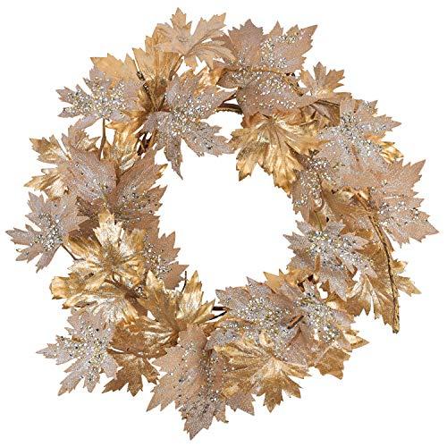 Cloris Art Halloween Christmas Door Wreath, 22 - 24 Inch Artificial Fall Maple Leaves Wreaths for Farmhouse Home Wedding Party Indoor Outdoor Wall Window Decor(Gold)