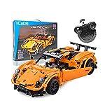 MKIU Technic Auto Spielzeug, Baustein-Satz, Wireless Gebäude Fernsteuerungsauto-, DIY Gebäude Autobaukästen Für Kinder Erwachsene (Orange)