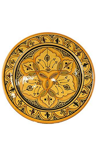 Orientalische Keramikschale Keramikteller Rund Alima Ø 34cm Groß   farbige marokkanische Keramik Schale Teller bunt aus Marokko   Orient große Keramikschalen flach Geschirr orientalisch handbemalt