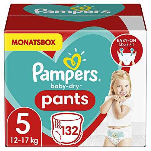 Pampers Größe 5 Baby Dry Windeln Pants, 132 Stück, MONATSBOX, Für Atmungsaktive Trockenheit (12-17kg)