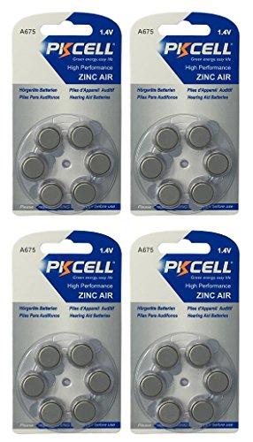PKCELL 24 x A675 / PR44 Hörgeräte-Batterie (4 Blistercard = 24 Batterien)