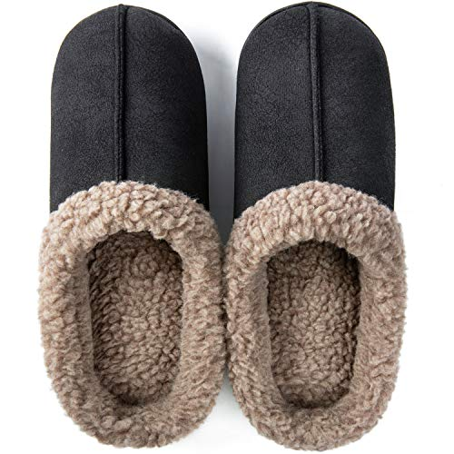 ZIZOR Men's Memory Foam Wool-Like Lining Slipper with Short Faux Fur Collar House Shoes Indoor Outdoor Slip on Clogs (Black, 11-12)