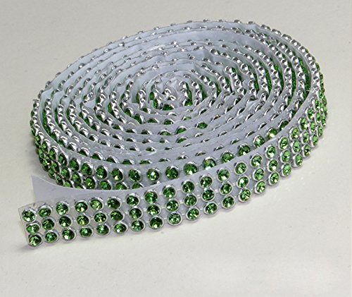 Chrysolite Mesh bande de strass SS8 autocollant galon, Largeur au choix, 1,15 m de long, strass vert clair, 3reihig / 10mm x ca.1150mm