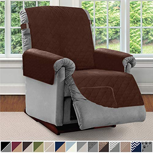 Sofa Shield Original Patent Pending Reversible Large Recliner Protector, Seat Width Up to 28 Inch, Furniture Slipcover, 2 Inch Strap, Reclining Chair Slip Cover Throw for Pets, Recliner, Chocolate