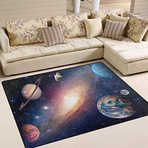 Use7 Universe Star Planet Weltraum-Teppich für Wohnzimmer Schlafzimmer 160 cm x 122 cm